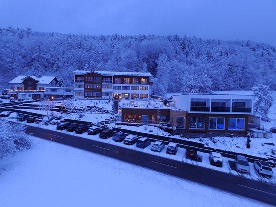 Lalling, Germany: Winter-Luftbild vom Wellnesshotel im Bayerischen Wald
