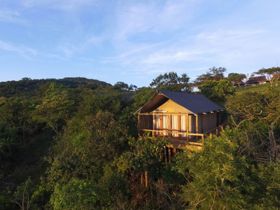 White River, South Africa: Exterior aerial view of Luxury Safari tent