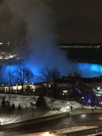 Oakes Hotel Overlooking the Falls: View of illumination from room.