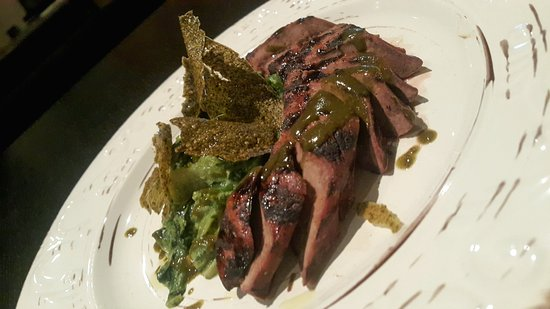 "Levidi, Grecia: Beef liver ""frikase"" with hand-picked greens and grape-leaves sauce"