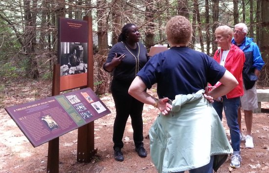 Felicia Jamison leading guided tour of WEB Du Bois Homesite in Great Barrington, MA.