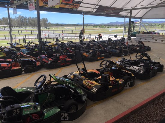 Xtreme Karting: Karts lined up ready to go