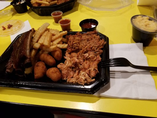 Pierce's Pitt Bar-B-Que: Pulled Pork/Ribs Combo with Hush Puppies, Fries and Man n Cheese