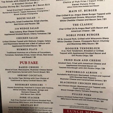 Albion, อินเดียน่า: Lunch & Dinner menu (Dec 2017)