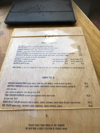 The Caf Coolum: menu