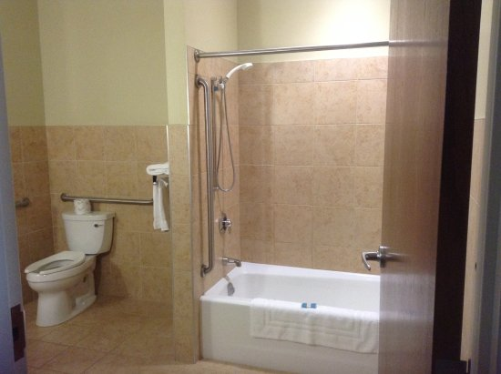 large shower with safety bars and hand held shower spray - Picture ...