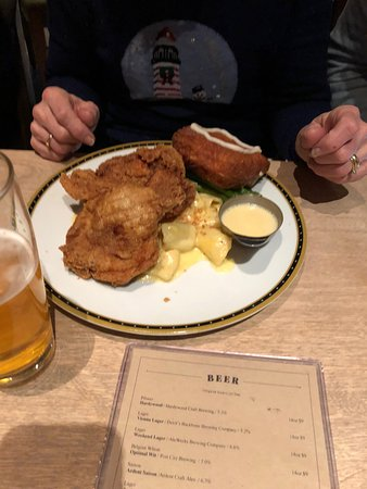 Founding Farmers- Tysons: Fried Chicken, macaroni and cheese, and doughnut