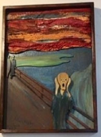 "Ona, FL: Wooden recreation of ""The Scream,"" a famous painting by Edvard Munch"