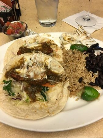 Lark Creek Grill: Blackened Fish Tacos - saucy cold fish, hard rice, dry beans YUM!