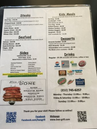 Crawfordville, FL: Back page of BW's menu