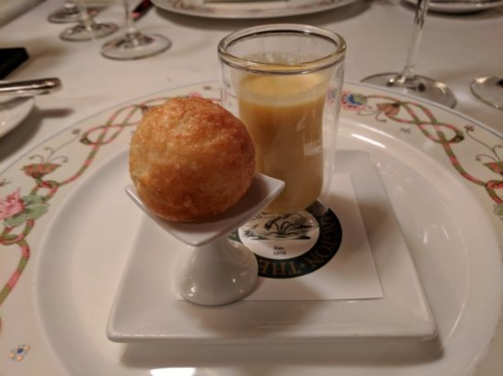 Inn at Little Washington: Gougere & Apple Rutabaga Soup Amuse Bouche