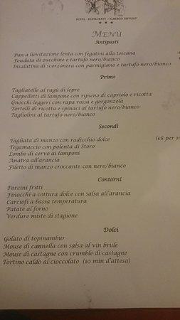 Portico di Romagna, Italie : menù