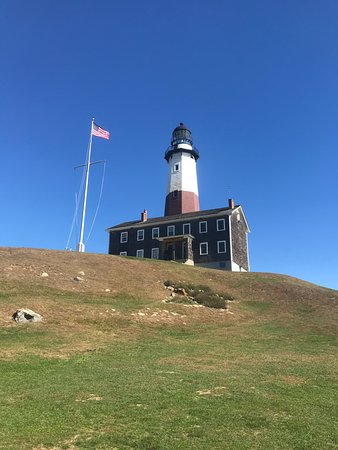 Montauk Point Lighthouse: Lighthouse as viewed from southern portion of property