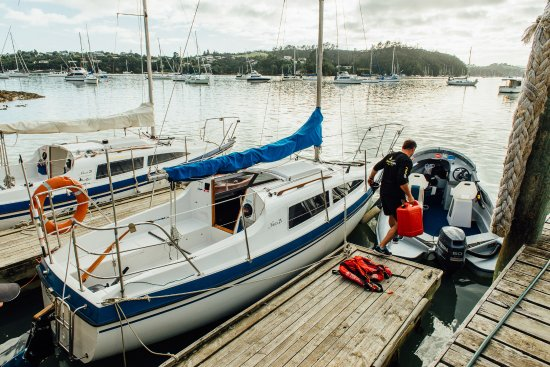 Our Opua dock.  The floating office is attached.
