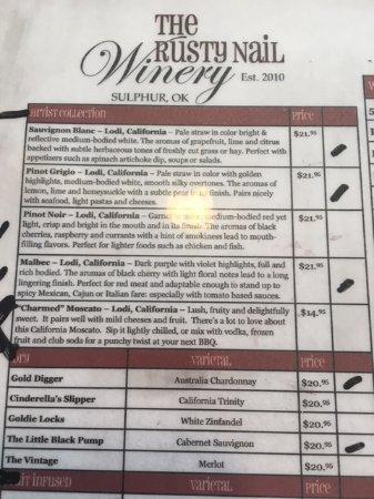 Sulphur, OK: List of wines to sample.