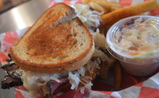Reuben sandwich with homemade coleslaw at The Fanwood Grille.