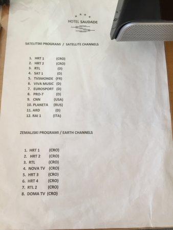 Gradac, โครเอเชีย: TV-Senderliste