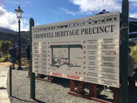 Cromwell Heritage Precinct: 入口處的景點地圖