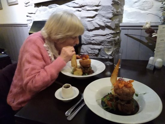 Probus, UK: My Sue tucking into her Brisket of Beef
