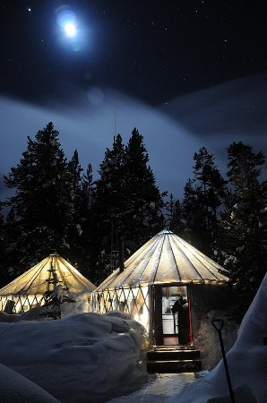 West Yellowstone, MT: Canyon Yurt Camp under a starry night sky