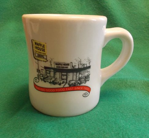 Waffle House: Detail of coffee mug -- a worthy souvenir of your visit.