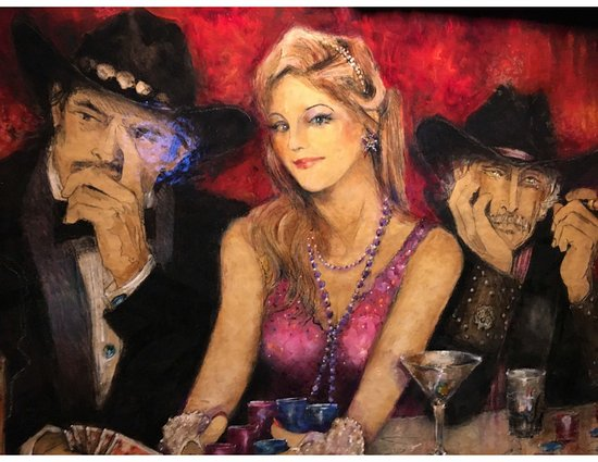 Silver Dollar Bar & Grill: Lively Ladies Depicted at at the Silver Dollar Bar