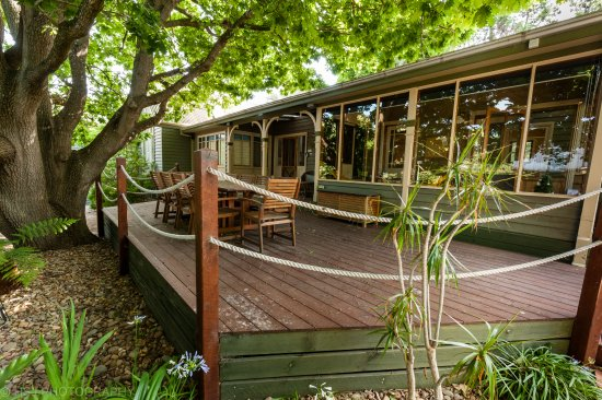 Rhyll, Australia: The Acorn room with outside table and chairs under the Oak Tree