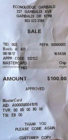 Garibaldi, OR: Ils ont arrondi le montant à $100.00 au lieu de $100.80