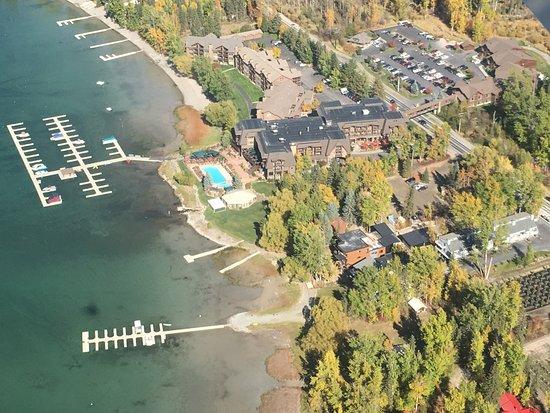 Bigfork, MT: Flying over The Lodge at Whitefish