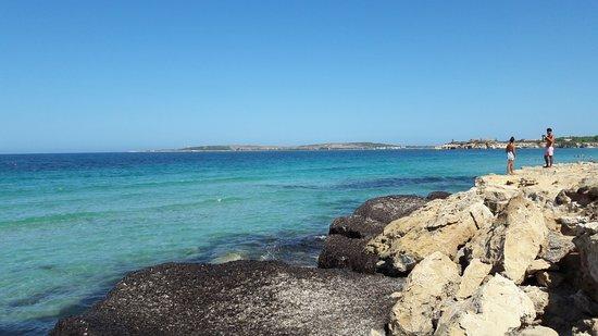 S'Arena Scoada Beach: Depuis Lodi alle Torri en regardant vers le nord et Porto Mandriola tout au fond