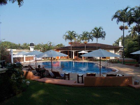 Anjuna, India: Pool and restaurant