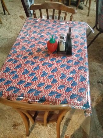 Stage Door: Found this to be interesting. In PE a table adorned with the US flag table cloth.