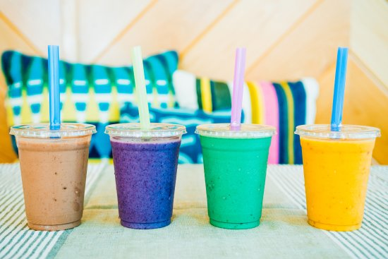 Del Valle, TX: Variety of smoothies available at the Juice Bar.