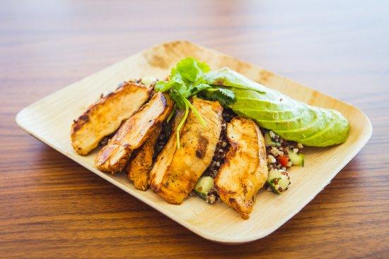 Del Valle, TX: Quinoa & Avocado Bowl with Grilled Chicken.
