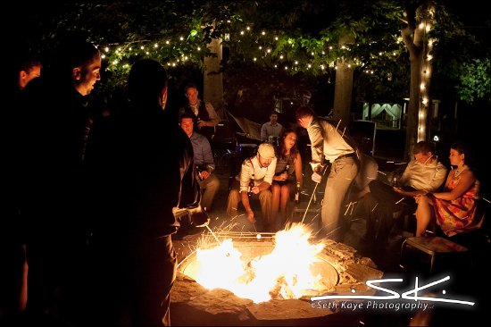 Rehoboth, ماساتشوستس: Late night with friends and family - S'mores at Five Bridge Inn [Photo: Seth Kaye Photography]