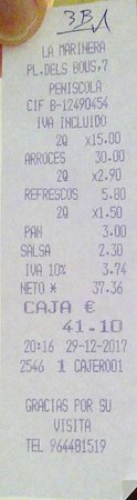 "Restaurante La Marinera: Ticket del robo en ""La Marinera"""