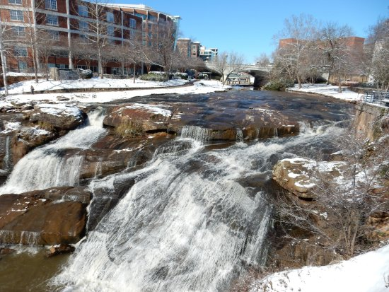 Falls Park on the Reedy: Reedy River Falls with snow