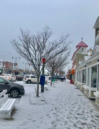 Avenue Inn Spa Front Sidewalk Rehoboth Entrance In Dec Snow