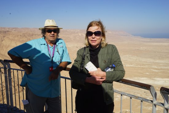 Zvika Bar Or Private Tours: Zvika and my wife at the top of Masada overlooking the Dead Sea
