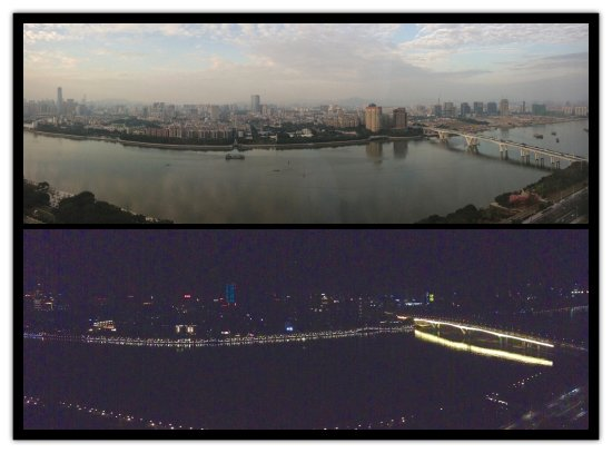 Shangri-La Hotel Guangzhou: 江景房間的日與夜
