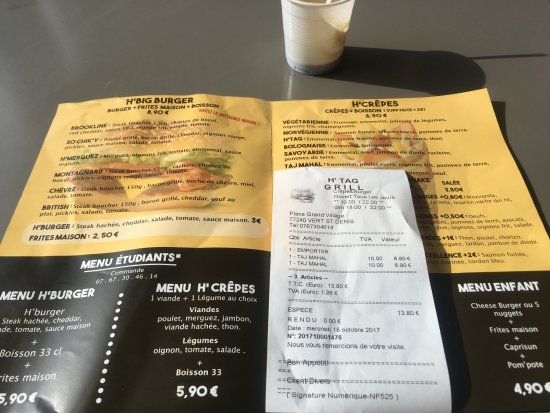 Vert-Saint-Denis, Frankrig: menu + facture