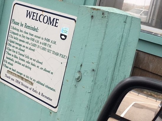 Rules at entry booth at Misquamicut State Beach.
