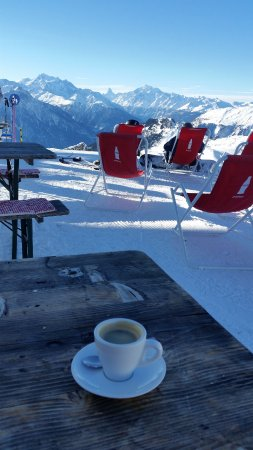 Aletsch Glacier: I enjoy my espresso coffee while watching the Matterhorn in the distance