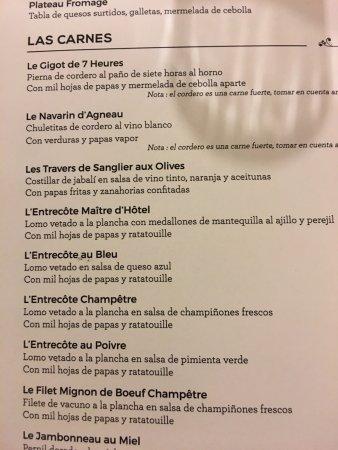 La Petite France: parte de la carta de carnes