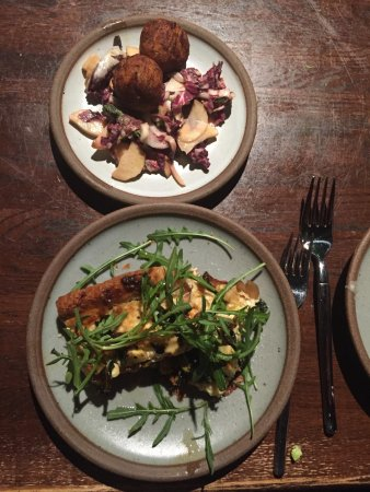 Cucina 24 : Goat cheese & greens Tart & Salt Cod Rutabaga fritters