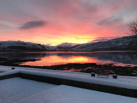 Lochcarron, UK: a beautifu snowy sunrise - our view!