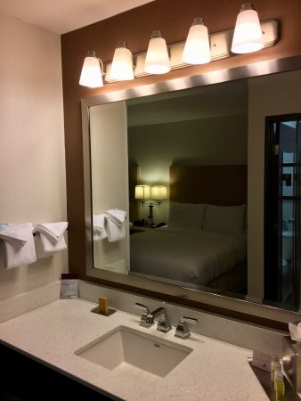 DoubleTree by Hilton Bend: Room 307 -- sink and mirror are in the main room; toilet and shower are in a separate room