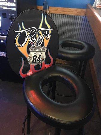 Savanna, IL: The entire indoor bar has stools (LOL) like this!