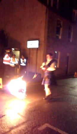 Stonehaven, UK: Flaming Fireball being spun