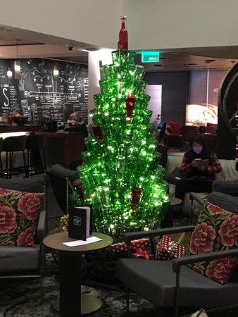 kimpton hotel vintage portland wine bottle christmas tree